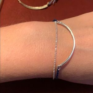 Silver and blue double strand bracelet